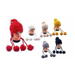 36 Units of Hat With 3 Pom Pom Heavy Cable Knit Very Fashionable - Fashion Winter Hats