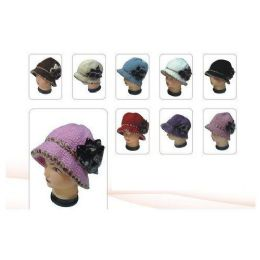 36 Units of Floral Knit Winter Hat - Fashion Winter Hats