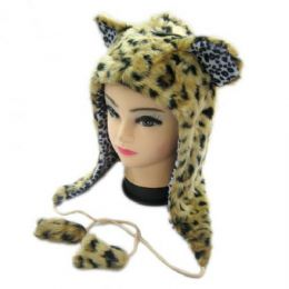 36 Units of Short Animal Hat Cheeta - Winter Animal Hats