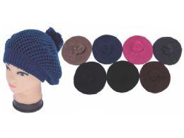 72 Units of 2 Layer Winter Knitted Beret - Baseball Caps & Snap Backs