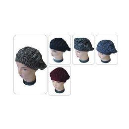 72 Units of 2 Tone Winter Fashion Glitter Beret - Baseball Caps & Snap Backs