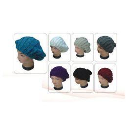 72 Units of Ladies Winter Knitted Beret - Baseball Caps & Snap Backs