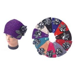 120 Units of Ladies Winter Ear Warmers With Fuzzy Flower - Ear Warmers