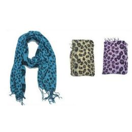 60 Units of Lepord Print Ladies Scarf Assorted Color - Womens Fashion Scarves