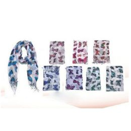60 Units of Butterfly Print Ladies Scarf Ass Colors - Womens Fashion Scarves