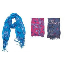 60 Units of Butterfly W/ Vine Print Ladies Scarf - Womens Fashion Scarves