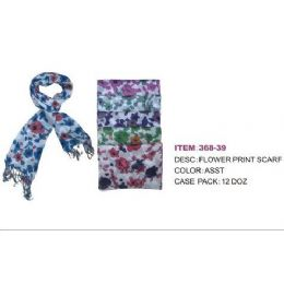 60 Units of Med Size Flower Print Scarf - Womens Fashion Scarves