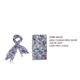 60 Units of Womans Ass Flower Print Scarf - Womens Fashion Scarves