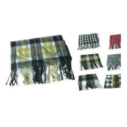 72 Units of Dark Color Plaid Scarf - Winter Scarves