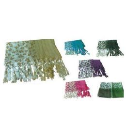 60 Units of Ladies Scarf  Half Leafs Hald Sold Color - Womens Fashion Scarves