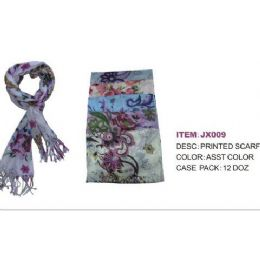 60 Units of Abstract Flower Ladies Scarf - Womens Fashion Scarves