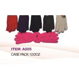 60 Units of Ladies Fleece Winter Gloves Asst Colors - Fleece Gloves