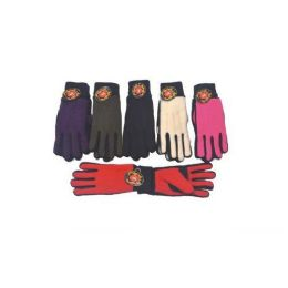 60 Units of Ladies Heavy Winter GLove W/ Grip - Knitted Stretch Gloves