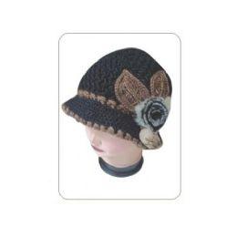 24 Units of Ladies Keavy Hat W/ Leaves and Soft Flower - Baseball Caps & Snap Backs