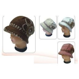 24 Units of Keavy Hat W/ Knitted FLower Around Small Soft Flower - Baseball Caps & Snap Backs