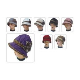 24 Units of Keavy Hat W/ Leather Like FLower - Baseball Caps & Snap Backs