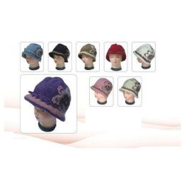 60 Units of HEAVY KNIT HAT WITH FLOWER - Fashion Winter Hats