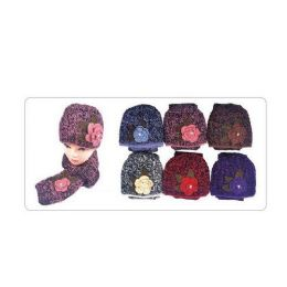 36 Units of 2 Tone Ladies Skully W/ Scarf and Flower Design - Baseball Caps & Snap Backs