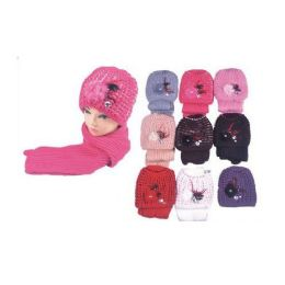 36 Units of GLitter Knitted Skully W/ Pom Pom and Sold Scarf - Baseball Caps & Snap Backs