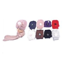 36 Units of Classy Knitted Hat w. Matching Scarf - Baseball Caps & Snap Backs