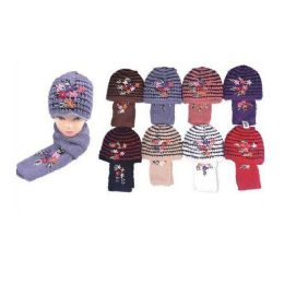 36 Units of Ladies Winter Skully W/ Stripes and Many FLowers - Baseball Caps & Snap Backs