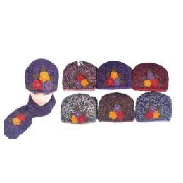 36 Units of 2 Tone Ladies Skully W 3 Flowers and Scarf - Baseball Caps & Snap Backs