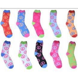 240 Units of Neon Peace Fuzzy Sock Size 9-11 - Womens Fuzzy Socks