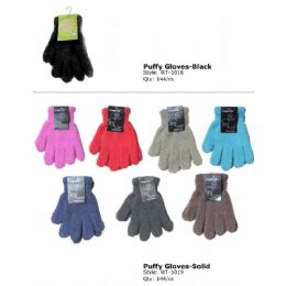 144 Units of Fuzzy Glove In Black Only - Fuzzy Gloves
