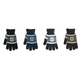 144 Units of Mens Knit Winter Gloves Snowflake Design - Knitted Stretch Gloves