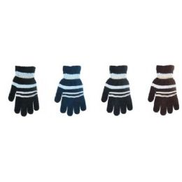 144 Units of Mens Knit Winter Gloves Stripes Design - Knitted Stretch Gloves