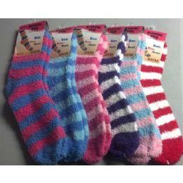 240 Units of Stripe Fuzzy Sock - Womens Fuzzy Socks