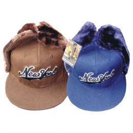 48 Units of Winter Cap W/ Ear Flap Ny Print - Winter Helmet Hats