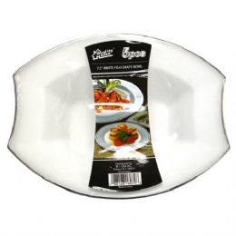 48 Units of  Plastic White Soup Plate Oval 7.5in 5PK - Plastic Bowls and Plates