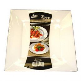48 Units of Plastic White Plate Square 9.5in 2PK - Plastic Bowls and Plates