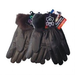 48 Units of Winter Glove Genuine Leather Women W/ Fur Cuff - Leather Gloves