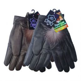 24 Units of Winter Glove Genuine Leather Women W/ Feather - Leather Gloves