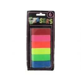 72 Units of 6 piece neon erasers - Erasers