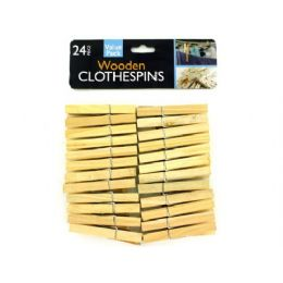 72 Units of Wooden clothespins, pack of 24 - Sewing Supplies