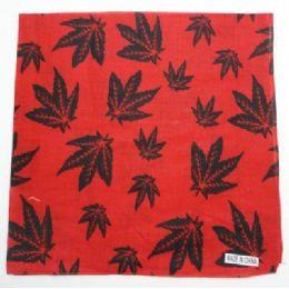 144 Units of Bandana-Red with Black Marijuana Leaves - Bandanas