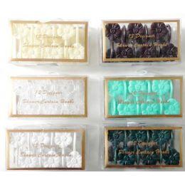 48 Units of 12 Pack Floral Shower Curtain Hooks Floral Design - Hooks