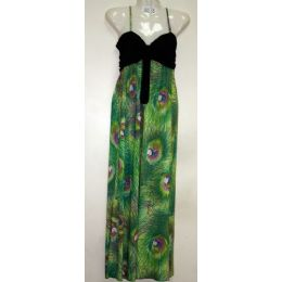 48 Units of Ladies Peacock Print Dress / Summer Dress - Womens Sundresses & Fashion