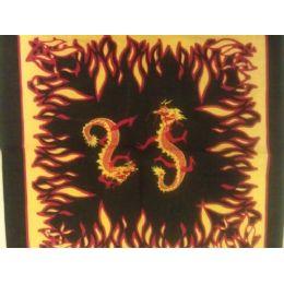 144 Units of  Bandana-Flames and Dragons - Bandanas