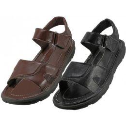 24 Units of Men's Pu. Leather Upper Velcro Sandals - Men's Flip Flops and Sandals