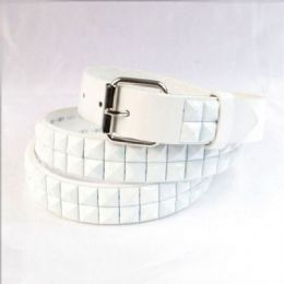 60 Units of Boys Metal Studded Belts In White - Kid Belts