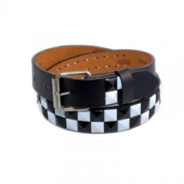 120 Units of Boys Metal Studded Belts In Black & White - Kid Belts