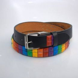 60 Units of Boys Rainbow Metal Studded Belts In Black - Kid Belts
