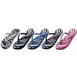 60 Units of Ladies Zebra Print Flip Flop With Glitter Strap - Women's Flip Flops
