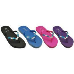 48 Units of Ladies Color Flip Flop With Stones - Women's Flip Flops