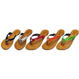 36 Units of Ladies Color Strap Flip Flop With Loop Design - Women's Flip Flops