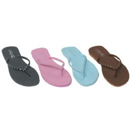 48 Units of Ladies Light Color Flip Flops With Stone Straps - Women's Flip Flops
